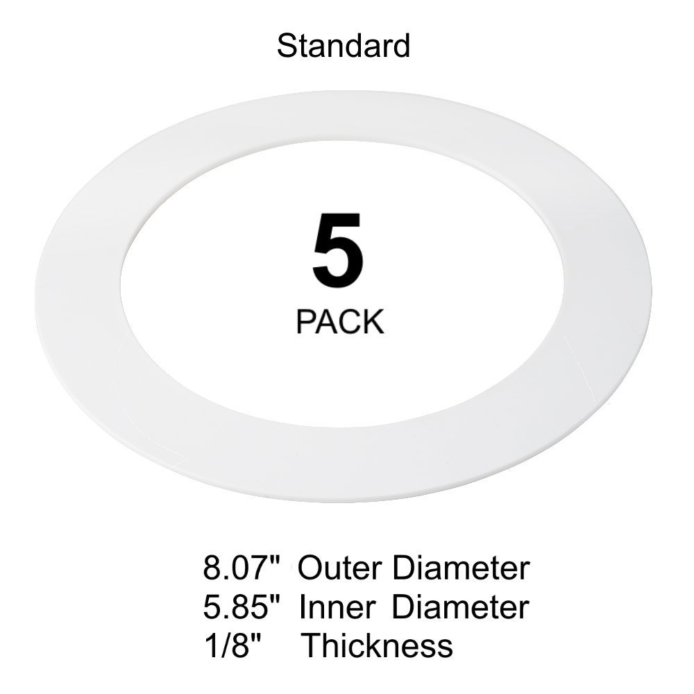 5 Pack White Goof Ring Trim Ring for Recessed Can and 6 Inch Down Light Over. US Green Lighting white6