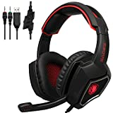 Cheap Sades SPIRITWOLF 3.5mm Version PC Over-Ear Stereo Gaming Headset Headband Headphones with Mic, Noise Reduction, Volume Control, LED Light For Computer Gamers(Black Red)