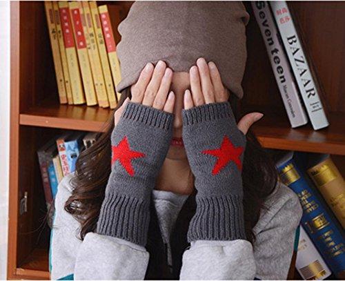 Guantes calientes para Mujeres,Ouneed ® Estrellas de invierno calentador impreso punto mitones brazo Fingerless guante Armada