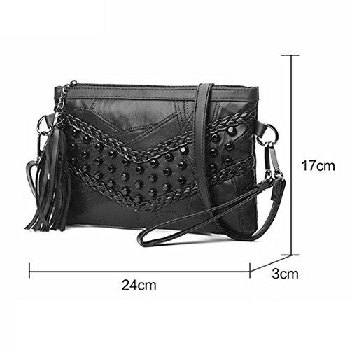 Simple Rivet Blackc Diagonale Mode Main Sac à Petit Pochette Sacs HAOXIAOZI Femmes épaule Des 5wF1CXq5x