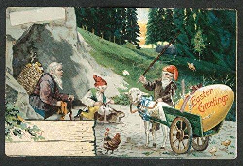 Easter Greetings gnomes lamb egg cart embossed postcard 1907