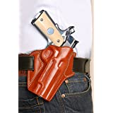 LEATHER PANCAKE OWB HOLSTER OPEN TOP FOR 1911 3-Inch COLT, KIMBER, PARA, R/H & L/H, BROWN COLOR