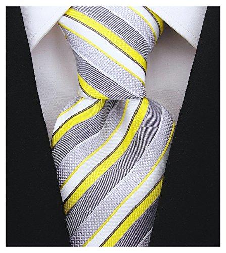 Scott Allan Mens Striped Necktie - Yellow & (Yellow Stripe Tie)