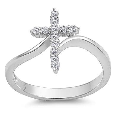Fine Rings 9 mm USA Seller Sideway Cross Design Ring