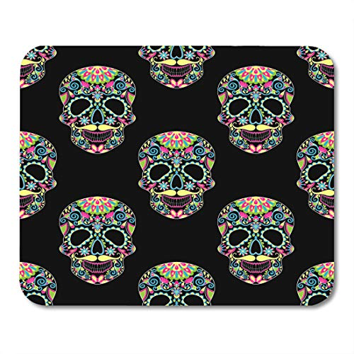 Emvency Mouse Pads Zentangle Color Sugar Skull for Halloween Dark Artistically Doodle Ethnic Ornamental Tattoo Coloring Book Mouse Pad Mats 9.5