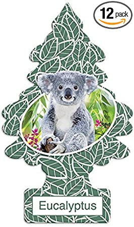 img buy LITTLE TREES Car Air Freshener | Hanging Paper Tree for Home or Car | Eucalyptus | 12 Pack