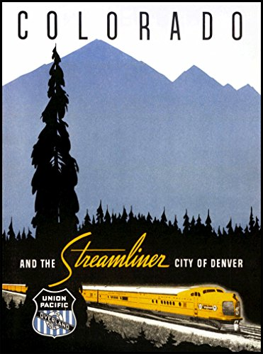 A SLICE IN TIME Colorado and the Streamliner City of Denver Union Pacific Railroad Vintage United States of Amerca Railways Travel advertisement Art Poster Print. Poster measures 10 x 13.5 inches