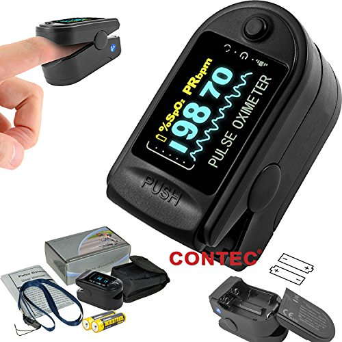 CONTEC CMS50D Finger Pulse Oximeter, SPO2 PR Oxygen Saturation Heart Rate Monitor with Carrying Case, Lanyard,battery Black color OLED Display