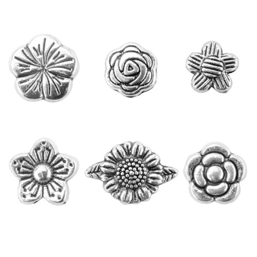 BEADNOVA 60pcs Tibetan Silver Lovely Flower Spacer Charm Beads for Jewelry Making Findings Assorted 6 Styles with Container (Wholesale Loose Leaf Tea)