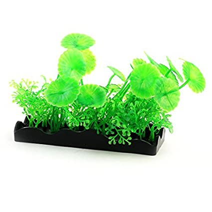 eDealMax Decoración acuario plástico simulado planta de la hierba Verde del ornamento Landspace Negro
