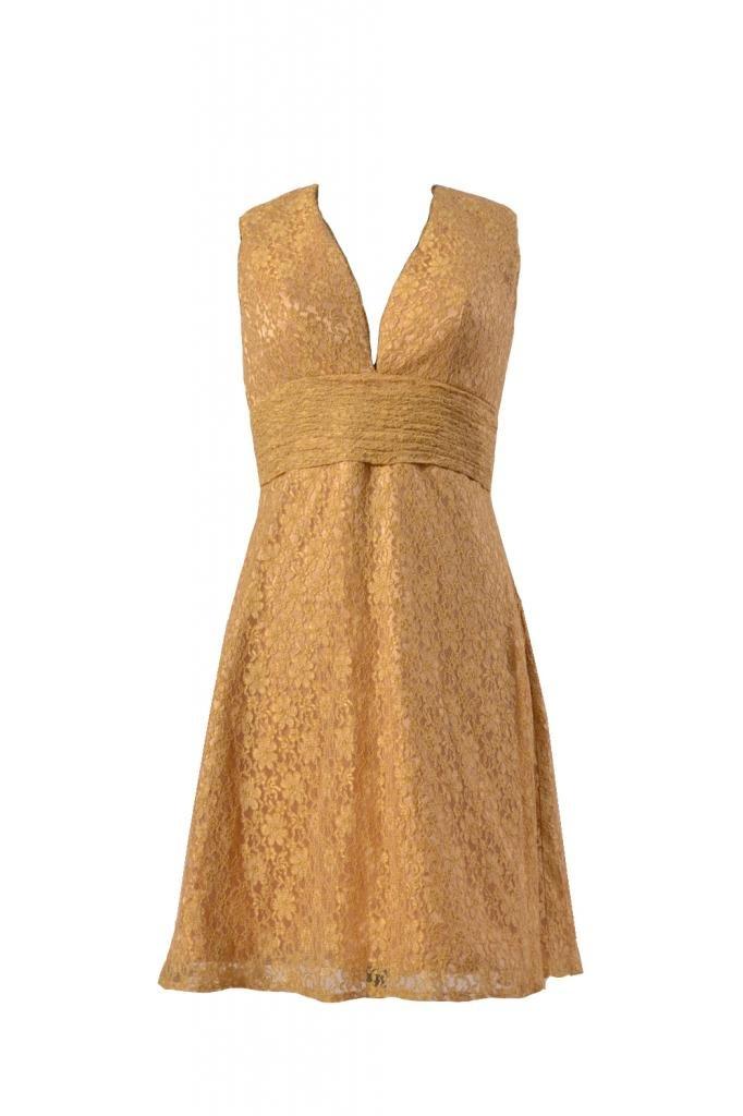 DaisyFormals V-neckline Lace Bridesmaid Dress Women Lace Party Gown(BM3730)- Vegas Gold