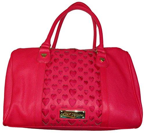 Betsey Johnson Purse Handbag Open Your Heart Satchel Fuchsia
