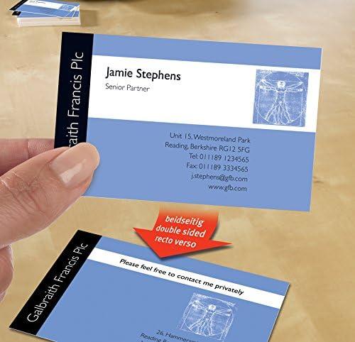 AVERY Zweckform C32015-25 Premium Visitenkarten, blanko (200 Stück, 260g, 85x54 mm, beidseitig bedruckbar, matt weiß, absolut glatte Kanten, 25 Blatt) zum Selbstbedrucken auf Inkjet-Druckern