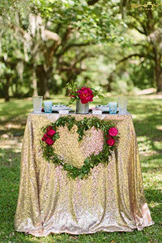 ShiDianYi Light Gold Rectangular Tablecloth 90x132-Inch Table Linens 6FT Sequin Champagne Gold Table Cloth ~0815S by ShiDianYi (Image #2)