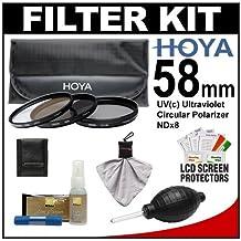 Hoya 58mm 3-Piece Digital Filter Set (HMC UV Ultraviolet, Circular Polarizer & ND8 Neutral Density) with Case + Nikon Cleaning Kit for Nikon 50mm f/1.4 G, 55-300mm DX VR AF-S Nikkor Lens