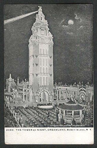 Island Dreamland Coney (The Tower by Night Dreamland Coney Island NY postcard 1906)