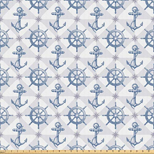 Lunarable Nautical Fabric by The Yard, Hand Drawn Compass Anchor with Rope Ship Steering Wheel Nautical Marine, Microfiber Fabric for Arts and Crafts Textiles Decor, 3 Yards, Grey Blue from Lunarable