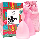 Happy Cup Menstrual Cups, Hawwwy Tampon & Pad Alternative 2 Pack Reusable Beginner, Most Comfortable Period Cup, Best Feminine Alternative Quality Eco Friendly Menstural (Small + Large (Same Color))