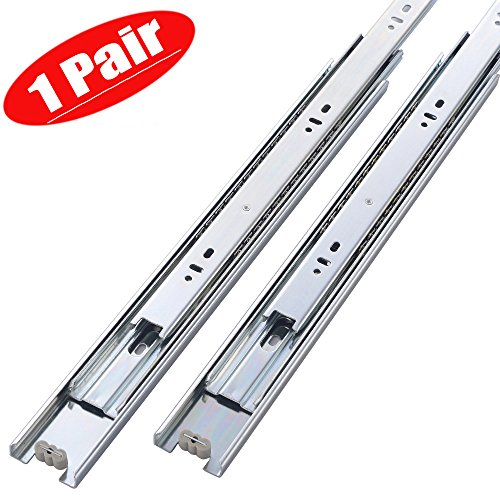 Friho 1 Pair of 10 Inch Hardware Ball Bearing Side Mount Drawer Slides, Full Extension, Available in 12'',14'',16'',18'',20'' Lengths - Full Extension Ball Bearing Slides