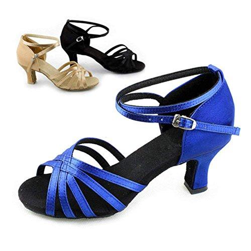 Zeagoo Tanzschuhe Damen Latein Comfort Standard Satin 6.5 cm Absatz Blau