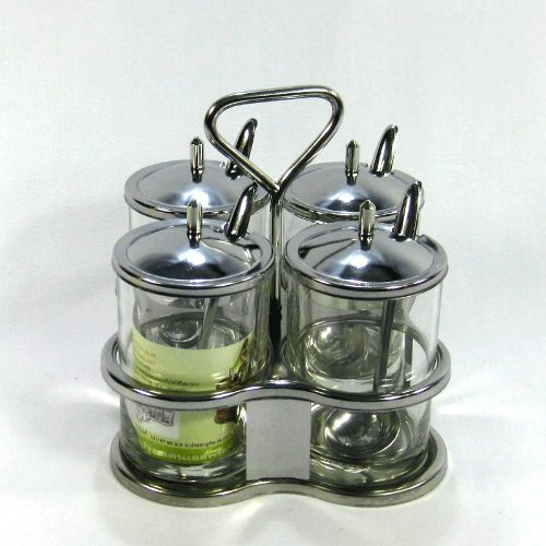 Thai Kitchen Seasoning Storage Set Stainless Steel Herb Spicy Container, Seasoning Pot by Thai Grocery by Thai Grocery