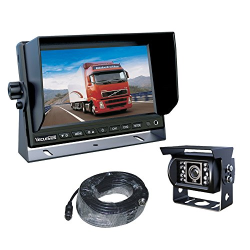 Car Rear View Camera System with 7″ Color LCD Display and Night Vision IP68 Waterproof camera + 66 feet Extension Cable, for Car / Bus / Truck / Van / Caravan / Trailer / Camper (Car monitor kit)