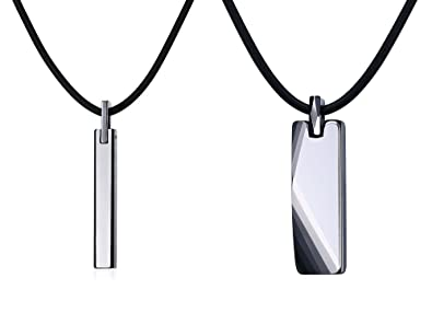 4d9cc0455bb63 VNOX Free Engraving Tungsten Carbide Vertical Bar Pendant Necklace for Men  Women,Free Chain 20