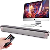 USB Speaker Computer Sound Bar TV Bluetooth Speaker with 2000 mah Battery, TV Speaker Home Audio Sound Bar for Desktop, Laptop, PC, Monitor, Cellphone, MP4 [Remote Control, RCA, AUX]