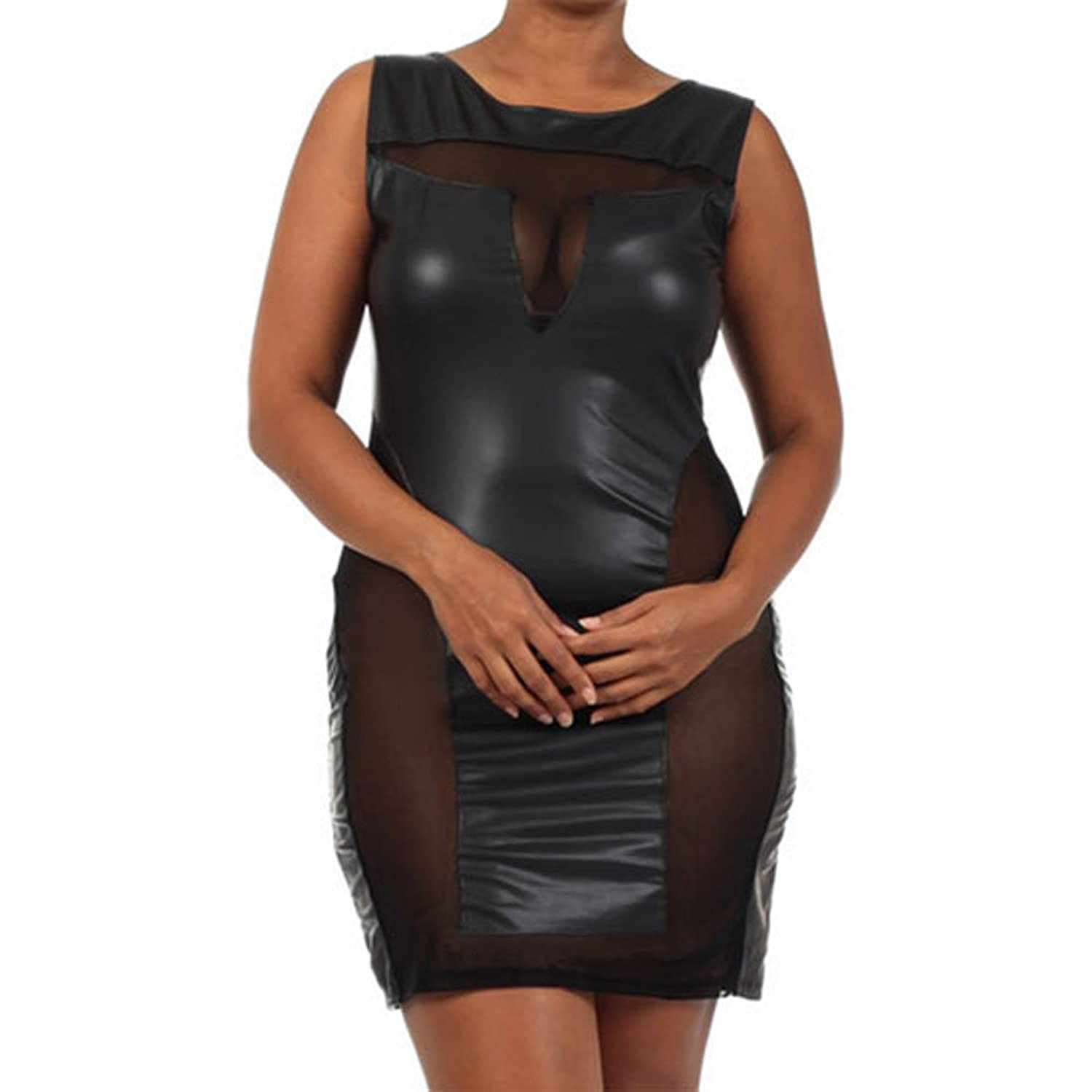 00061 - Plus Size Sexy Mesh Panel Cut Out Pleather Club Dress Black