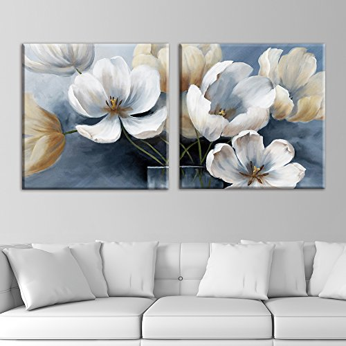 2 Panel Square Vintage Style Flower Petals x 2 Panels