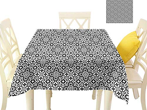 (funkky Elegant Waterproof Spillproof Polyester Fabric Table Cover Old Antique Kitchen Design Floor Tiles Inspired Royal Star and Flower Like Image W54 x L54, Indoor Outdoor Camping Picnic)