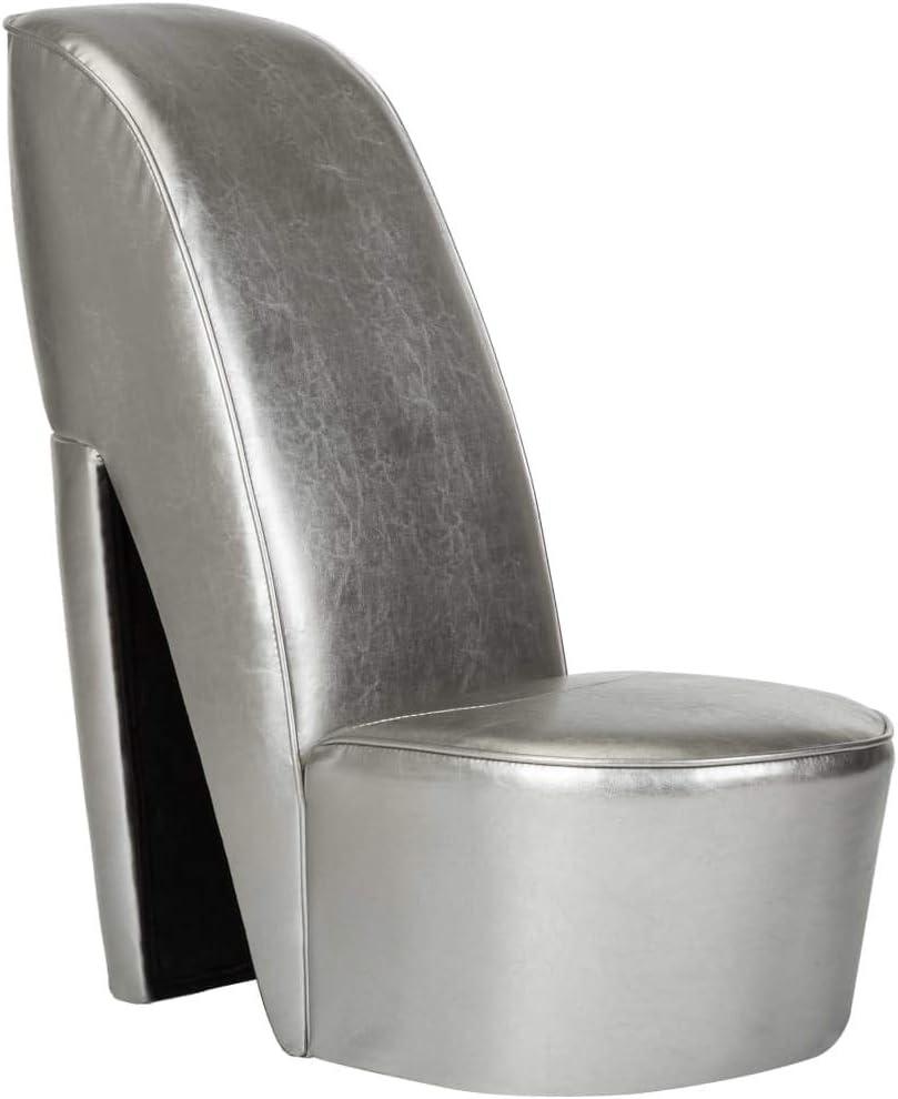 vidaXL Sillón Forma de Zapato Tacón Cuero Sintético Mobiliario Casa Estructura Robusta Duradera Elegante Tapizado Suave Cómodo Estabilidad Plateado