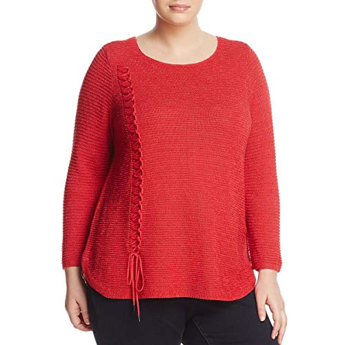 (NIC+ZOE Womens Plus Braided Up Knit Lightweight Pullover Sweater Red 1X)