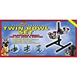 Lazy Bones Height Adjustable Twin Bowl Set (One size) (Black/Silver)