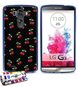 Carcasa Flexible Ultra-Slim LG G3 de exclusivo motivo [Cerezas] [Azul] de MUZZANO + ESTILETE y PAÑO MUZZANO® REGALADOS - La Protección Antigolpes ULTIMA, ELEGANTE Y DURADERA para su LG G3