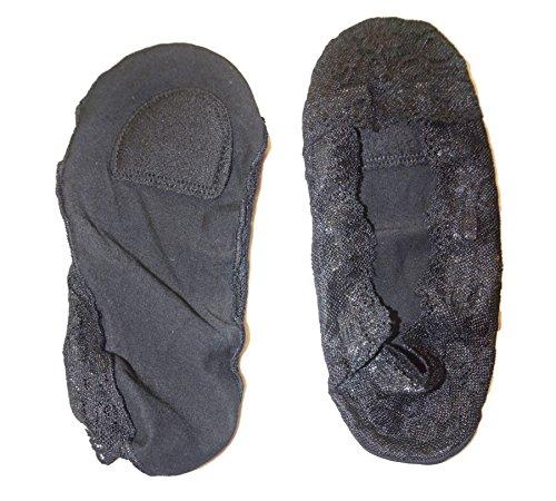 Mujer JHosiery de zapato calcetines Par Negro del Plantilla 1 invisible Acolchada escotado antideslizantes Con footsies barco forro HwqdUw