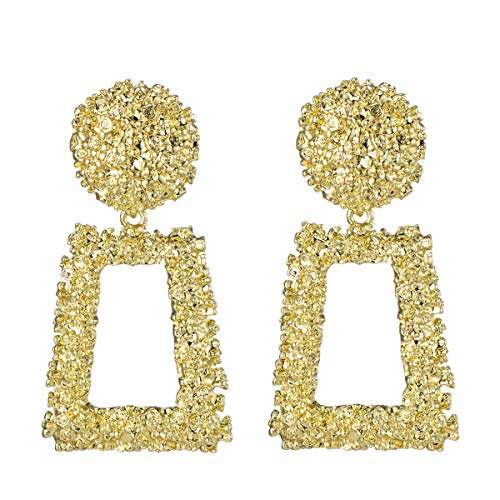(WPY Metallic Gold Open Rectangle Textured Designed Drop Statement Earrings 1 Pair)