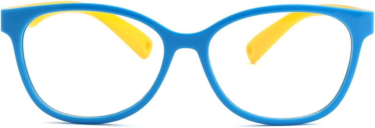 Kids Blue Light Blocking Glasses TPEE Rubber Flexible Frame With Glasses Rope for Children Age 2-10