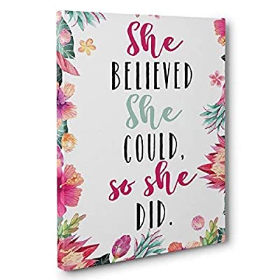 She Believed She Could So She Did Canvas Wall Art