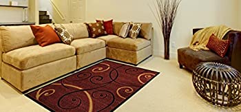 "Red Tribal Filigree Contemporary 4'10"" x 6'10"" Area Rug Maxy Home Ephes Collection EPH4050"