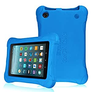 Fintie Shock Proof Case for All-New Amazon Fire 7 Tablet (7th Generation, 2017 Release) - Ultra Light Weight Protective Kids Friendly Cover, compatible with Fire 7 (5th Gen, 2015), Blue