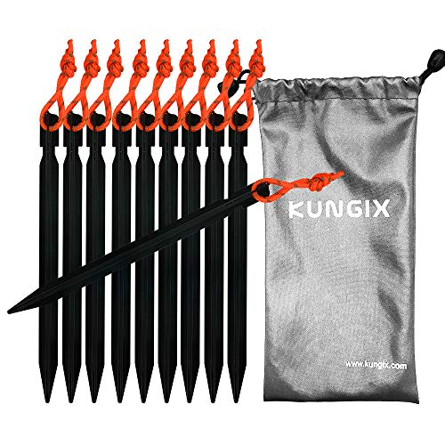 Kungix Tent Stakes Pegs 7 Aluminium Alloy with Reflective Rope 10-Piece (Black)