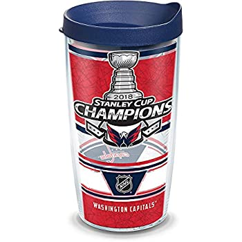 Clear Tervis 1272278 NHL Washington Capitals All Over Tumbler with Wrap and Red Lid 16oz