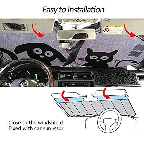 MetaCrafter Windshield Sun Shade Cute Cartoon Car Sunshade Universal 59x33  inch for Cars Suv Truck, Double Bubble Foil Fun Cartoon Anti Glare Sun