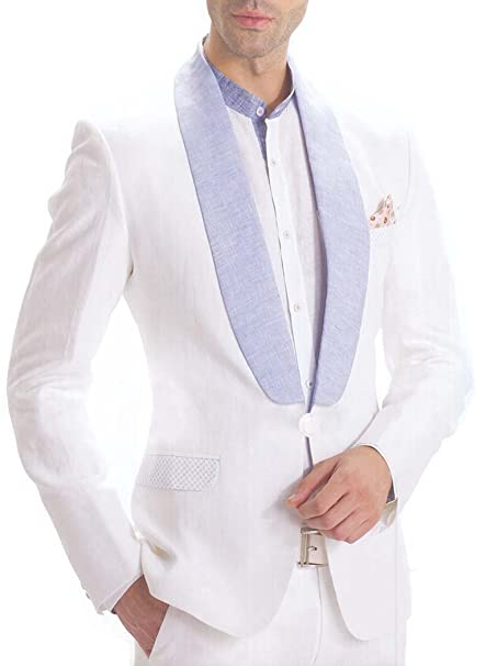 INMONARCH Hombres 4 Pc blanco lino precioso traje esmoquin ...