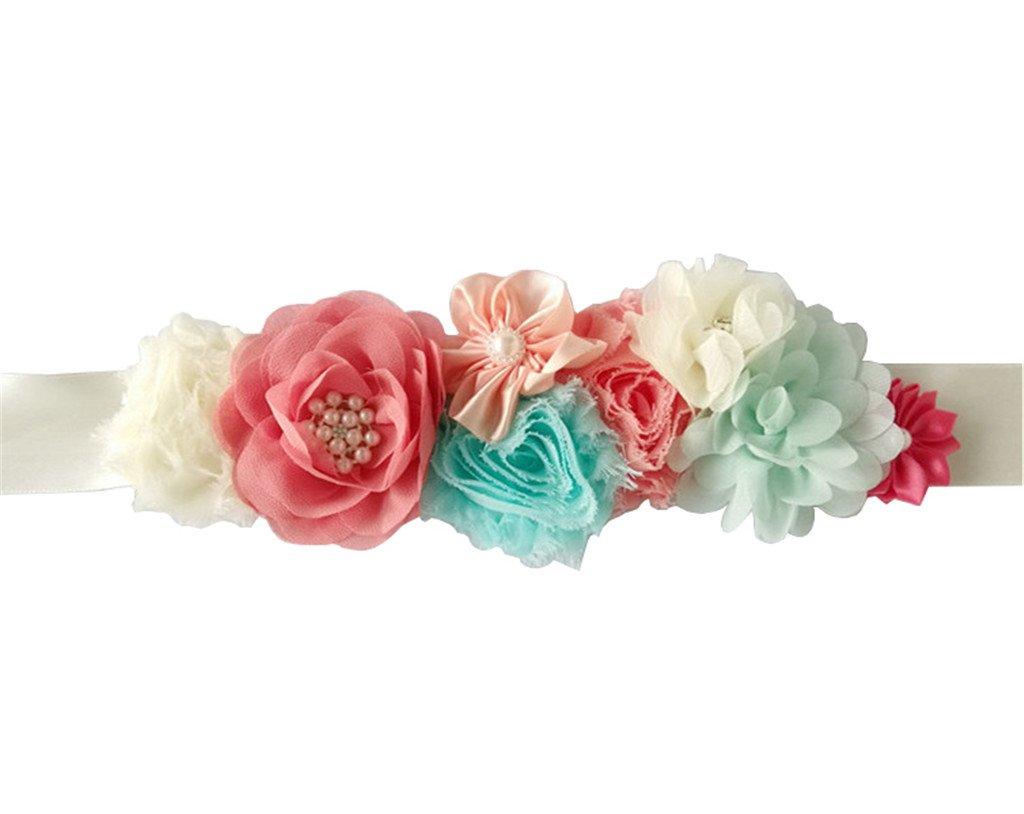 Maternity Satin Ribbon Belt with Flower for Photo Shoot, Floral Baby Shower/Bridal Sash/Wedding Belt, Flower Baby Girls Sash (Coral02)