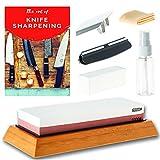 DKSTKitchen Knife Sharpening Stone Set - Japanese Wet Stones Includes Angle Guide, Fixer, Anti-Slip Bamboo Holder, E-Book Manual, Spray Bottle, Cloth, BONUS Finger Guard - Grit 1000/6000 Sharpener