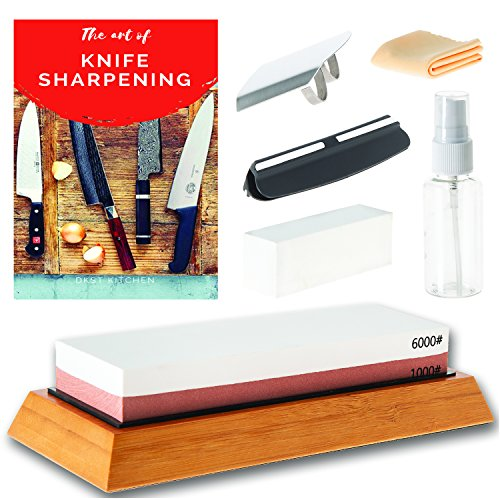 DKSTKitchen Knife Sharpening Stone Set - Japanese Wet Stones Includes Angle Guide, Fixer, Anti-Slip Bamboo Holder, E-Book Manual, Spray Bottle, Cloth, BONUS Finger Guard - Grit 1000/6000 (Japanese Bench Stone)