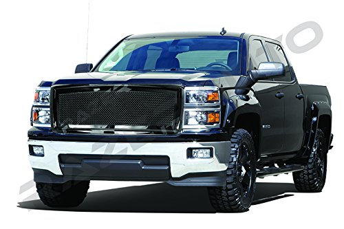 Billet 1500 Grille Putco (Razer Auto Gloss Black Mesh Grille Complete Factory Replacement Grille Shell for 2014-2015 Chevy Silverado 1500)