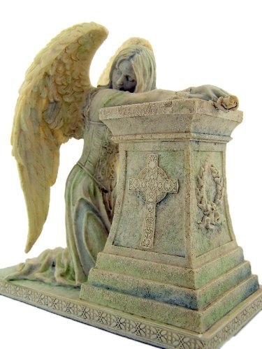 Gothic Weeping Angel with Celtic Cross Stone Statue Figurine Home Chapel Decoration